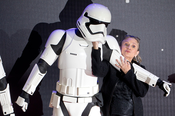 LONDON, ENGLAND - DECEMBER 16: Carrie Fisher attends the European Premiere of 'Star Wars: The Force Awakens' at Leicester Square on December 16, 2015 in London, England. (Photo by Julian Parker/UK Press via Getty Images)